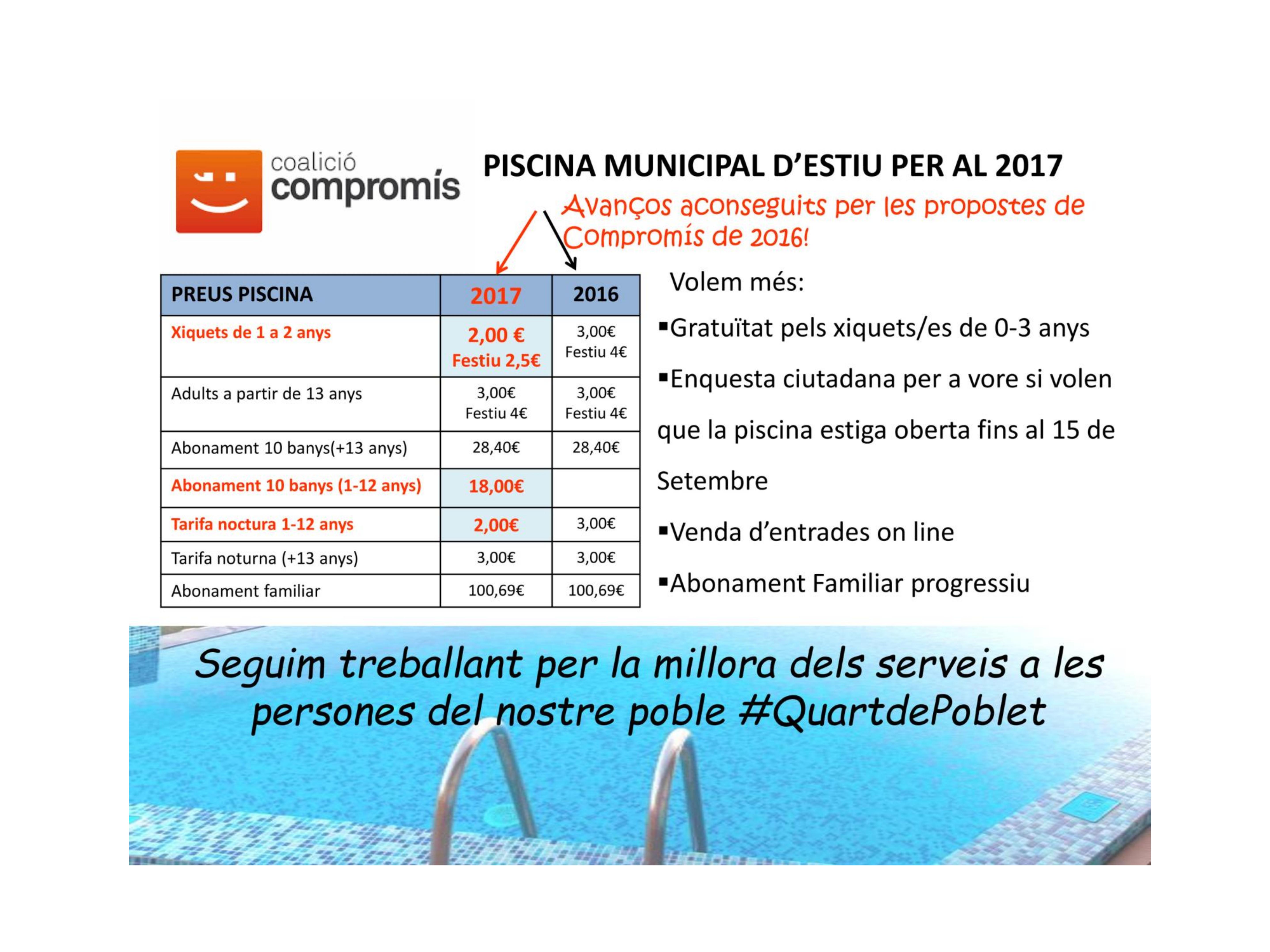 Piscina d estiu tarifes 2017 comprom s per quart de poblet for Piscina quart de poblet cubierta